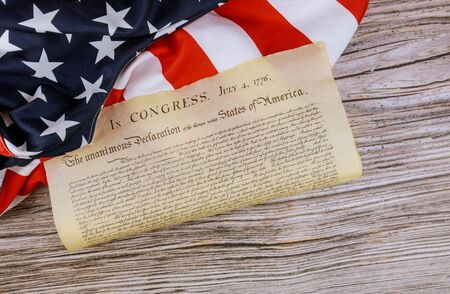 American Flag of vintage document detail the United States Declaration of Independence with 4th july 1776