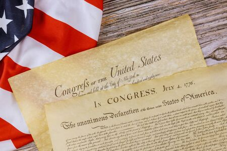 American constitution of vintage parchment the document detail the United States Declaration of Independence with 4th july 1776 Stock Photo