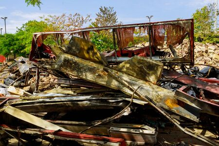 Vandalism or revenge, burnt interior damage after protest riots in the usa Reklamní fotografie