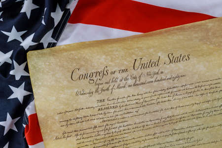 Constitution of the United States of America first of the National Archives in the Constitutional Convention in 1787. Stock Photo