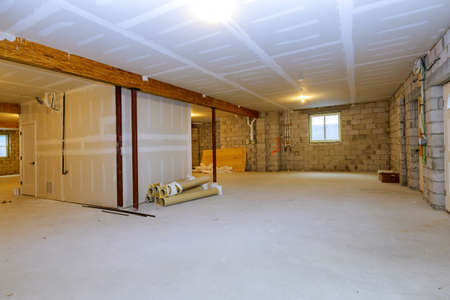 Unfinished new build interior construction basement renovation ground floor Inside