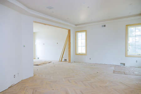Interior construction of housing of empty apartment with white wall Banco de Imagens