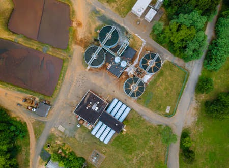 Aerial view of sewage treatment plant modern wastewater Industrial of water treatment
