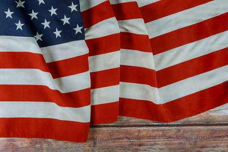 USA national holidays Memorial day American flag on wooden background