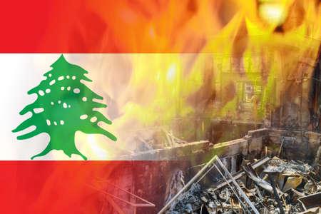 Beirut destruction after in the tragic explosion happened in Port of Beirut on National flag of Lebanon