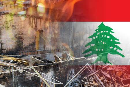 Beirut destruction after in the tragic explosion happened in Port of Beirut on National flag of Lebanon Banque d'images