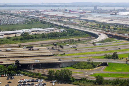 Elevated expressway the curve of suspension bridge, aerial view scenic road Newark NJ USA Stock Photo