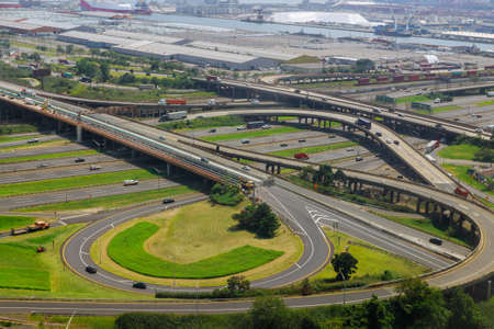 Aerial view at junctions of city highway vehicles drive on roads Newark NJ US Stock Photo