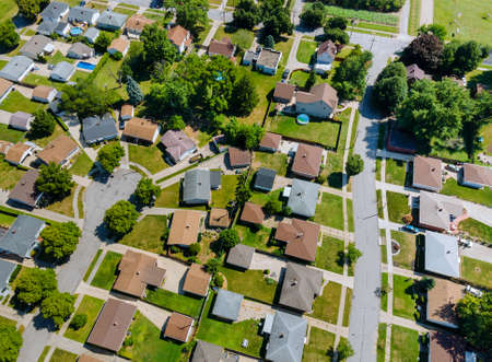 Aerial roofs of the houses in the urban landscape of a small sleeping area Cleveland Ohio USA Stock fotó