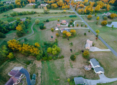 Beautiful farmland in the Ohio countryside house barn aerial view of american landscape