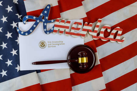 Official department USCIS Department of homeland Security United States Citizenship and Immigration Services US deportation Immigration justice and law concept American flag