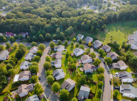 Wide panorama, aerial view with tall buildings, in the beautiful residential quarters and green streets Cleveland Ohio US