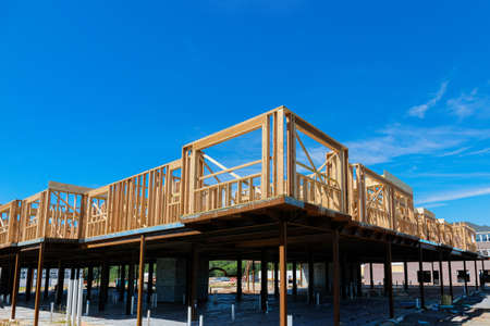 Private residential apartment with wooden frame under construction beams house