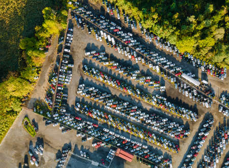 Cars terminal parked in used car auction lot on distributed a parking Stock Photo