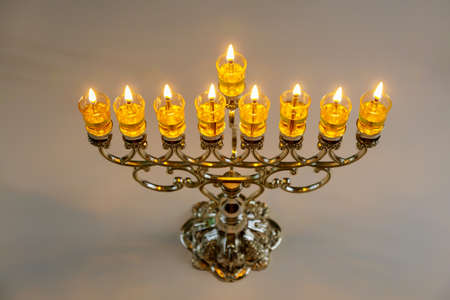 Menorah with burned out candles for Hanukkah in Jewish Festival Stock Photo