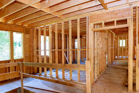 Unfinished of interior view of a house residential construction wall of framing against