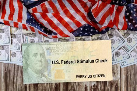 American flag Global pandemic Covid 19 lockdown on Senate stimulus deal includes individual checks virus economic stimulus plan USA dollar cash banknote Banque d'images