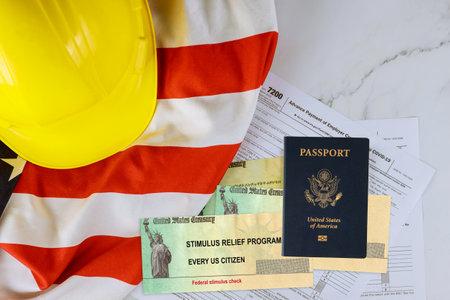American flag Global pandemic Covid 19 lockdown on Senate stimulus deal includes individual checks virus economic stimulus plan USA Passport