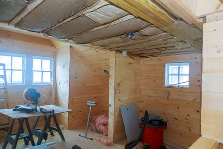 Construction and repair of a country private frame decorative wooden studio apartment house Zdjęcie Seryjne