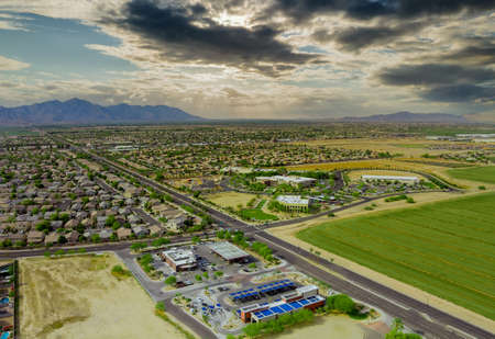 Aerial drone view of small town near mountains area a residential neighborhood with Avondale town Arizona USA Stock fotó