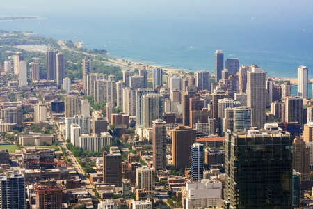 Aerial view street level looking up, City of Chicago with leading near lake in Illinois USA