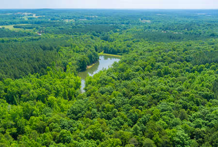 Aerial panoramic view on mountain lake in summer nature between by mountains in Campobello, South Carolina USA