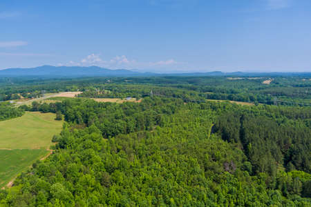 Panoramia aerial on green forest view at summer time with good weather by mountains in Campobello town, South Carolina
