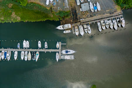 Panorama view the little port dock for boats on ocean marina the aerial view