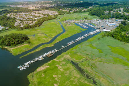 Aerial view panorama of wood platform for boat in the ocean little pier marina Zdjęcie Seryjne