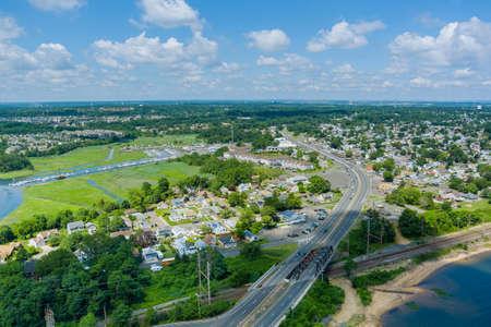 Aerial top view of numerous cars in a high speed traffic in American highway Zdjęcie Seryjne