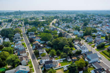 Panorama view residential neighborhood district in American town, in Sayreville NJ US