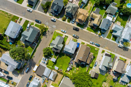 View residential district neighborhood in American town, in Sayreville New Jersey US