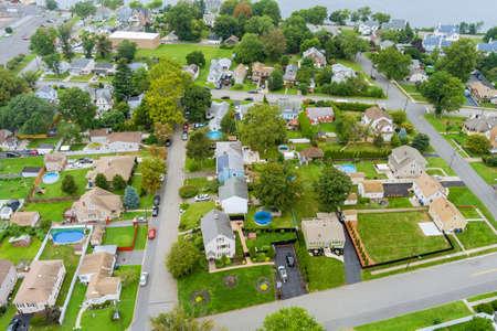 Aerial view modern residential district in American town, residential neighborhood in Woodbridge NJ USA