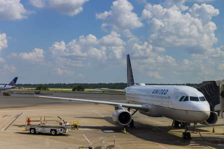 20 SEPTEMBER 2021 Houston, TX USA: United Airlines at airplane waiting at the gate Airport Houston