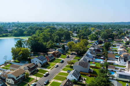 Beautiful American town houses near the lake in Sayreville New Jersey USA