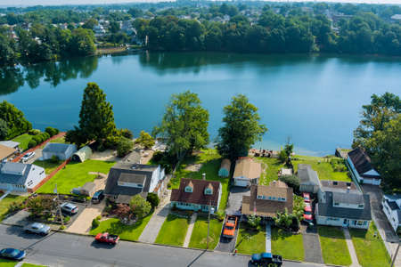Panorama view of small American town near pond in Sayreville New Jersey USA