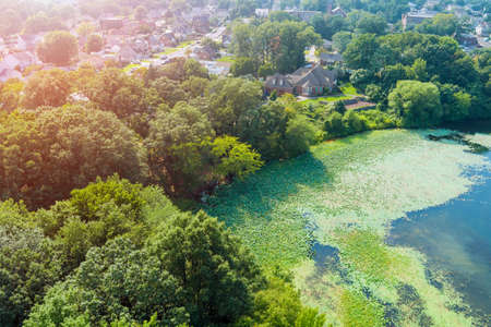 Aerial view of small American town residential community near the pond in Sayreville New Jersey USA