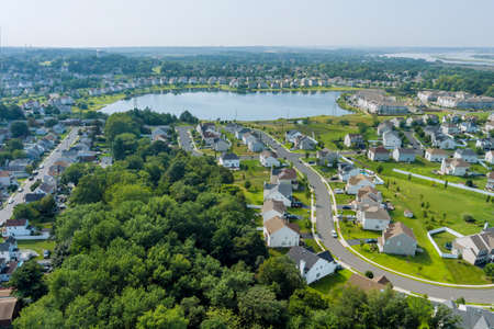Lake near the small American town residential community in Sayreville New Jersey US with panorama view