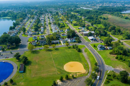 Aerial view of lake near the small American town residential community in Sayreville New Jersey US