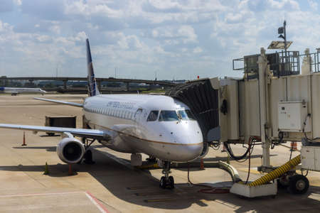 20 SEPTEMBER 2021 Houston, TX USA: Terminal gate passenger airplane waiting at the gate at the In Busch International Airport in Houston TX on United Airline