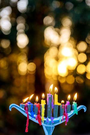 Burning hanukkah candles in a menorah on Jewish holy holiday festivals