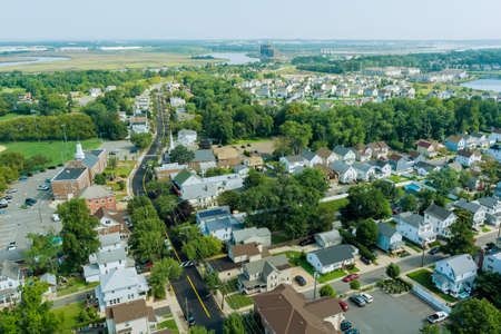 Panorama view over the small town landscape suburb homes sleeping area roof houses in Sayreville NJ US