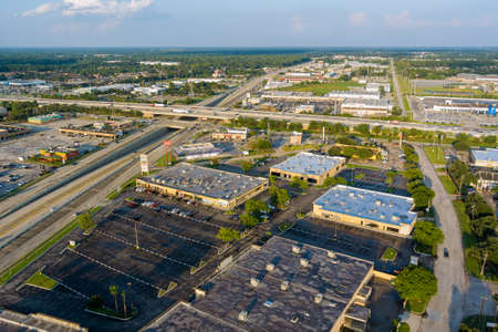 20 SEPTEMBER 2021 Houston, TX USA: Panorama aerial view interstate 45, highway road junction at southeast side of Houston, Texas