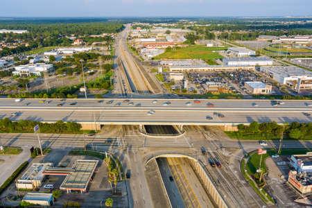 20 SEPTEMBER 2021 Houston, TX USA: Panorama aerial view traffic line 45 Interstate expressway around mall plaza in USA Houston city of Texas 新闻类图片