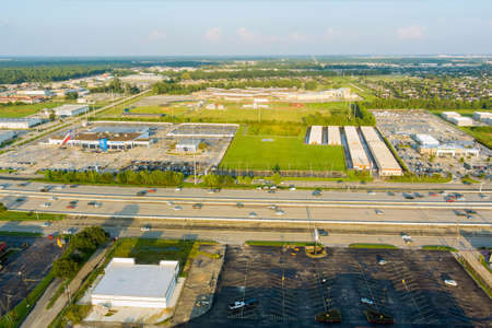 20 SEPTEMBER 2021 Houston, TX USA: Aerial overlooking with traffic line 45 Interstate expressway around mall plaza of beautiful highway Texas in USA Houston city