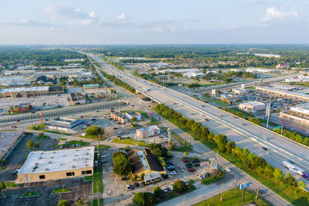 20 SEPTEMBER 2021 Houston, TX USA: Top view over the traffic backed up during rush hour on 45 interstate highway, expressway in Houston city Texas USA