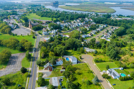 Aerial view of a Sayreville town neighborhood residential area houses in a small town in NJ USA