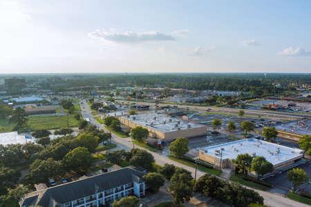 20 SEPTEMBER 2021 Houston, TX USA: Aerial view shopping mall lot near 45 interchanges view in Houston city Texas USA
