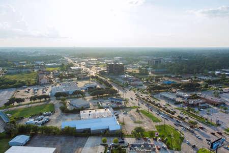 20 SEPTEMBER 2021 Houston, TX USA: Panorama aerial view shopping mall plaza view in Houston city Texas USA