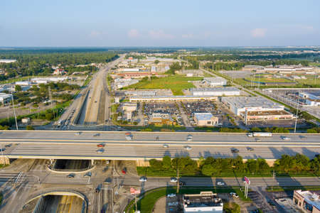 20 SEPTEMBER 2021 Houston, TX USA: Aerial view interstate 45, highway road junction at southeast side of Houston, Texas
